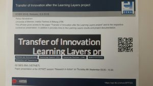 """Mini-poster """"Transfer of Innovation after Learning Layers"""""""